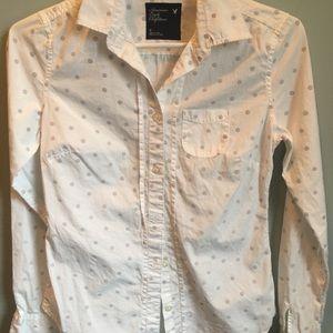 AEO White Polkadot Button Down Long Sleeve Shirt